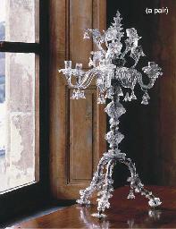 A PAIR OF VENETIAN GLASS SIX-L