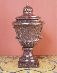 A PORPHYRY URN AND COVER
