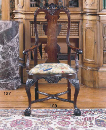A PORTUGUESE ROSEWOOD OPEN ARM