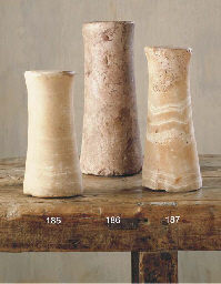 A BACTRIAN MARBLE COLUMN IDOL