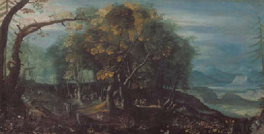 A WOODED LANDSCAPE WITH A SKIR