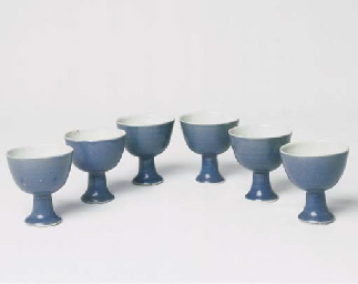 A SET OF SIX TRANSITIONAL BLUE