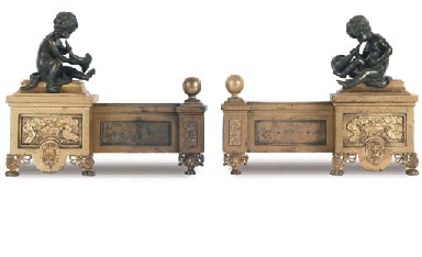 A PAIR OF ORMOLU AND BRASS CHE