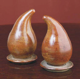 A PAIR OF CHINESE TREEN POWDER
