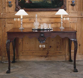 A PAIR OF TURNED PINE TABLE LA