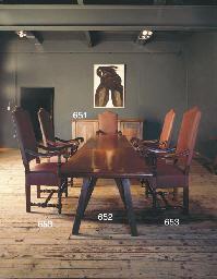 A LARGE TEAK TRESTLE TABLE