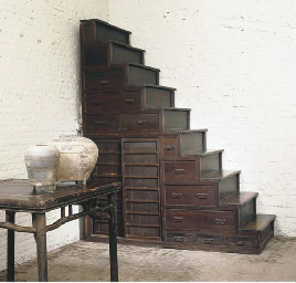 A JAPANESE STAINED PINE STAIR
