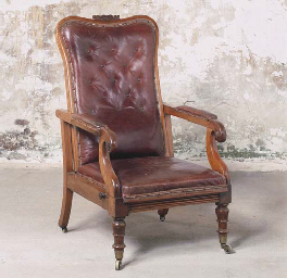 A WILLIAM IV MAHOGANY RECLININ