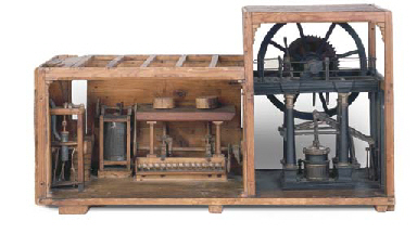 A PAINTED WOOD MODEL OF A MILL