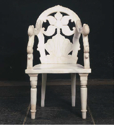AN INDIAN WHITE MARBLE OPEN AR