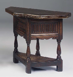 AN OAK TABLE OF CREDENCE TYPE