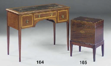 AN EDWARDIAN MAHOGANY AND SATI