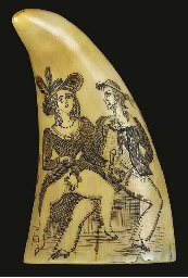 A SMALL SCRIMSHAW-DECORATED WH