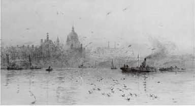 Barges on the Thames before St
