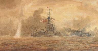 H.M.S. Marlborough going into