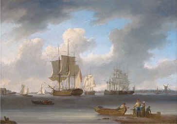 A three-master and other ships