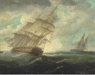 A British frigate heeling in t