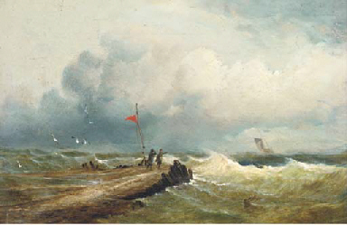 Windswept figures on a jetty l