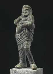 A GREEK BRONZE COMIC ACTOR
