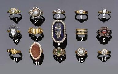 A gold, rose-cut diamond and b
