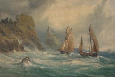 Shipping off a rocky coastline