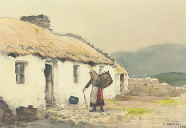 Cottage and peat gatherer