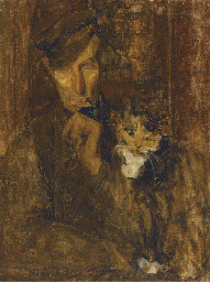 A man with a cat