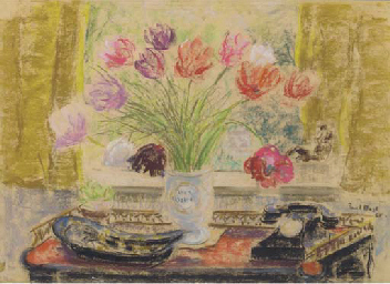 Still life with tulips and tel