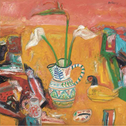 Still life with jug of lillies