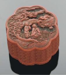 A Chinese cinnabar lacquer lob