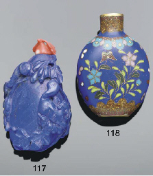 A Chinese lapis-lazuli carved