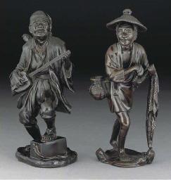 Two Japanese bronze okimono, M