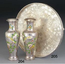 A Chinese silver circular tray