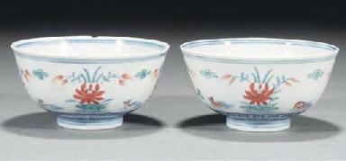 A pair of Chinese doucai lotus