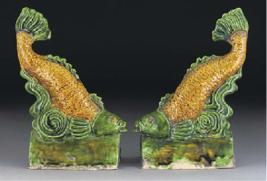 A pair of Chinese ochre and gr
