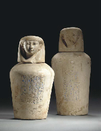 TWO EGYPTIAN LIMESTONE CANOPIC