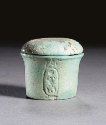 AN EGYPTIAN FAIENCE LIDDED VES