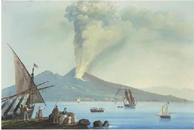 Veduta di Napoli con eruzione