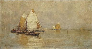 Barche in laguna, 1890 circa