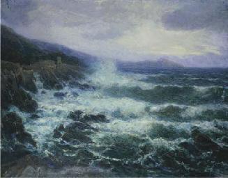 Mareggiata con torre costiera