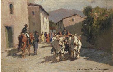 Strada di paese con contadini