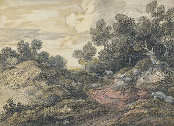 A wooded landscape with sheep