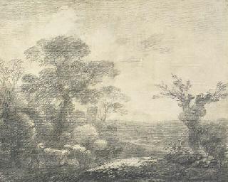 Wooded landscape with herdsmen