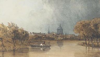 A river landscape, possibly ne