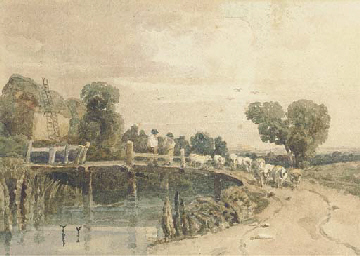 Shepherd and flock on a bridge