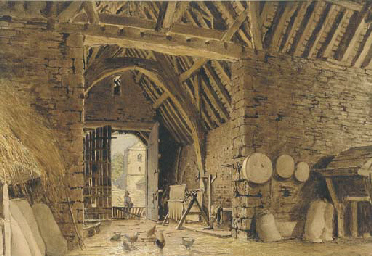 Interior of a barn with chicke
