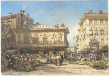 A flower market, Verona