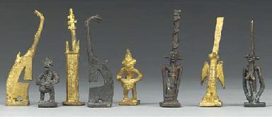 A Mali brass figural chess set