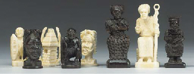 An Angolan carved ivory and eb