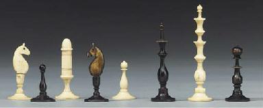 A German turned bone chess set